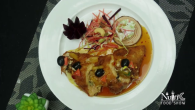 Photo of Nuts & Cheese Stuffed Chicken Recipe with Pineapple sauce and coleslaw