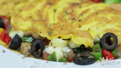 Photo of Veggie Omelette with sauteed vegetables and olive cheese stuffing